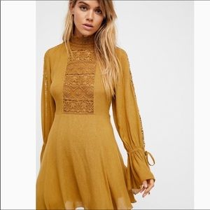 Free people mustard yellow lace long sleeve dress